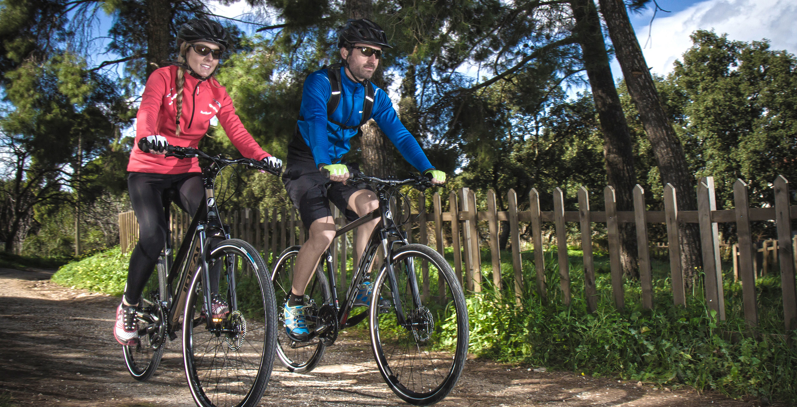 woman and man cycling on ideal bikes