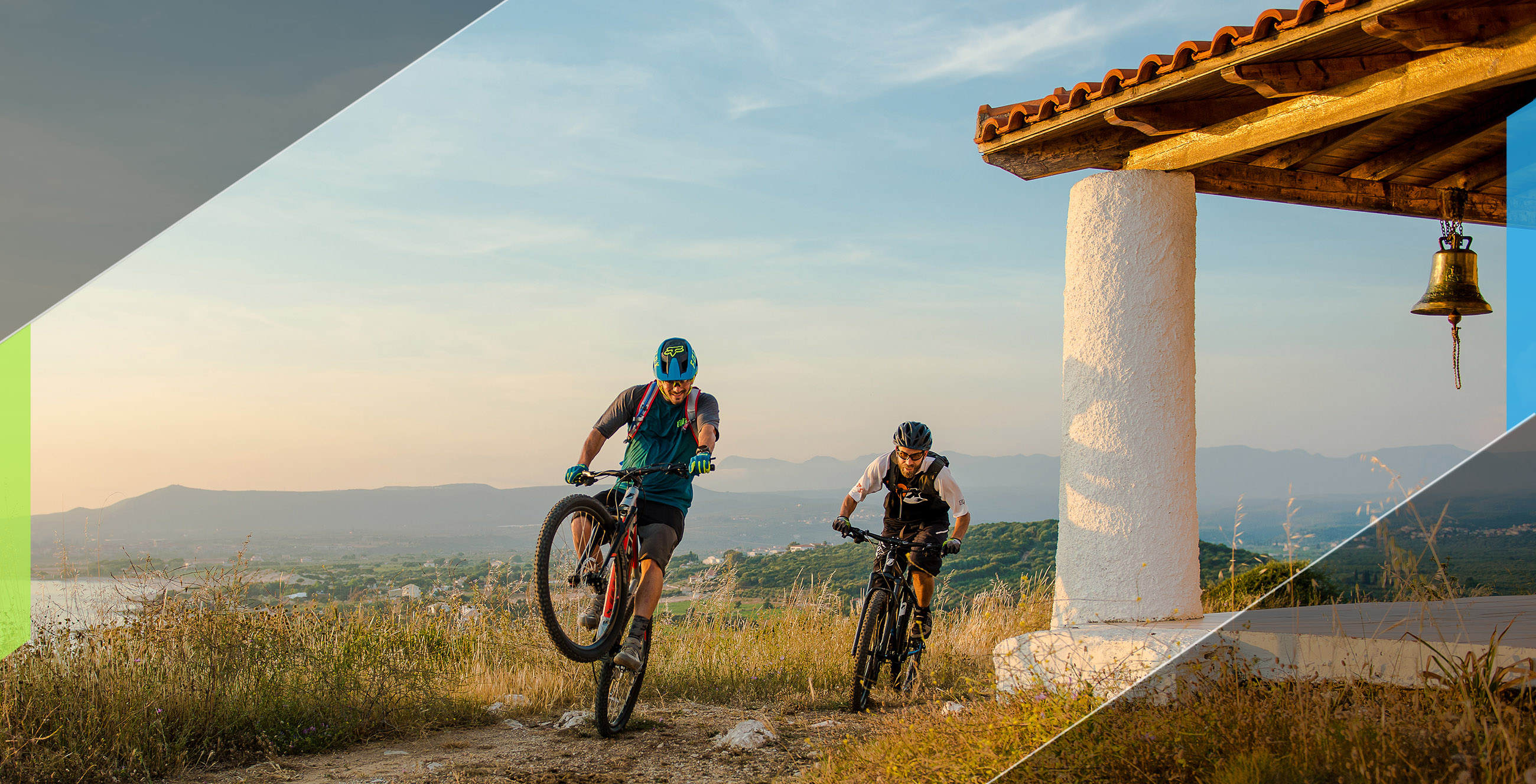 two men cycling with IDEAL Bikes on the mountain